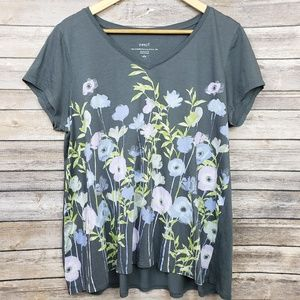 J Jill Pima Shirred Back Elliptical Tee Large